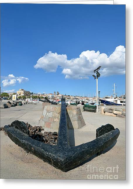 Summer Greeting Cards - Old anchor in Aegina port Greeting Card by George Atsametakis