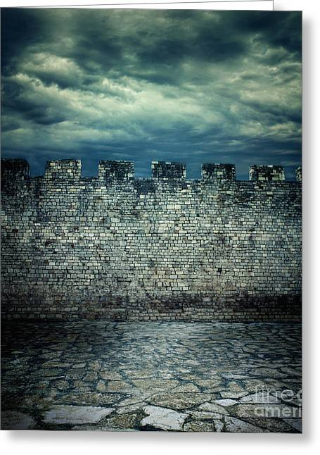 Mythja Greeting Cards - Old ancient wall Greeting Card by Mythja  Photography