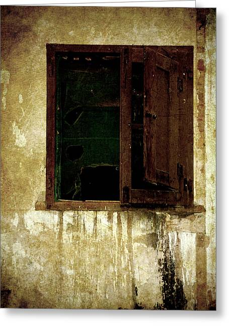 Old House Photographs Photographs Greeting Cards - Old and decrepit window Greeting Card by RicardMN Photography