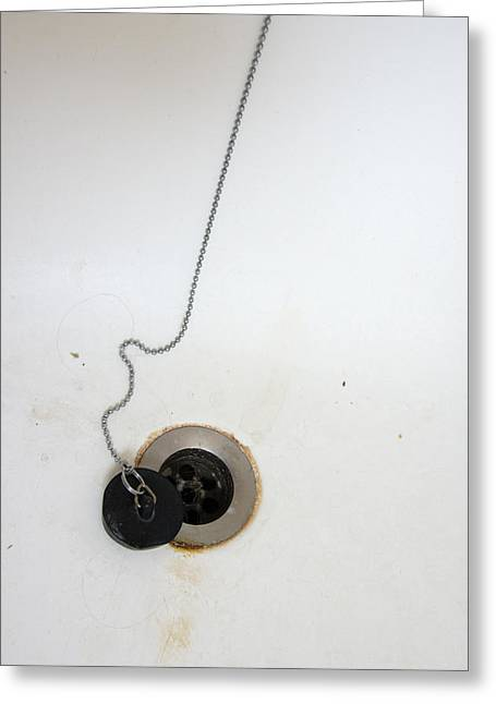 Sink Holes Greeting Cards - Old and dirty bathtub with drain and plug   Greeting Card by Matthias Hauser