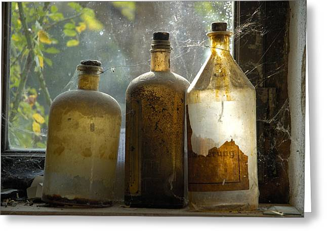 Spiderwebs Greeting Cards - Old and dusty glass bottles Greeting Card by Matthias Hauser