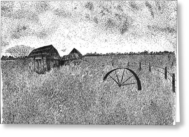 Old Barn Pen And Ink Greeting Cards - Old and Forgotten Greeting Card by Rahul Jain