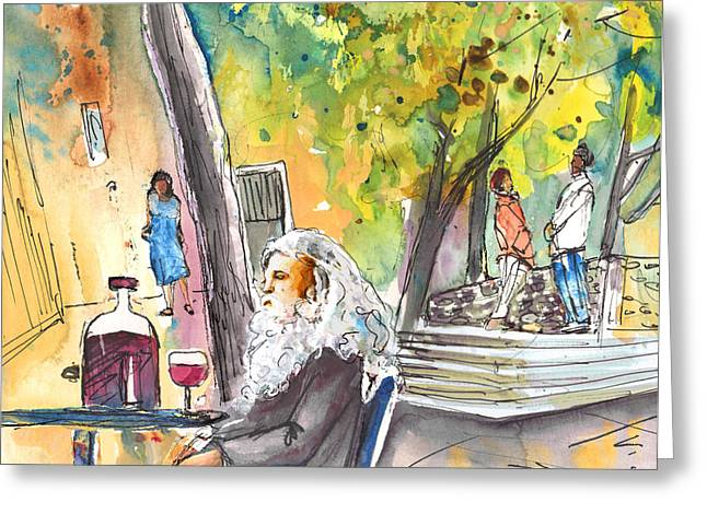 Italian Wine Drawings Greeting Cards - Old and Lonely in Italy 05 Greeting Card by Miki De Goodaboom