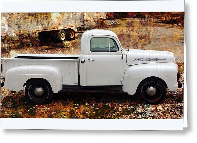 Florida Panhandle Digital Art Greeting Cards - An Old and New Ford Truck Greeting Card by Carla Parris