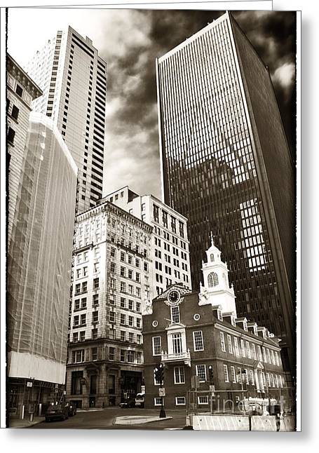 Old And New Architecture Greeting Cards - Old and New in Boston Greeting Card by John Rizzuto
