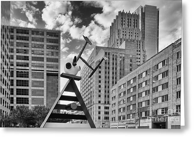 Frost Bank Building Greeting Cards - Old and New Juxtaposed - Downtown Houston Texas Greeting Card by Silvio Ligutti