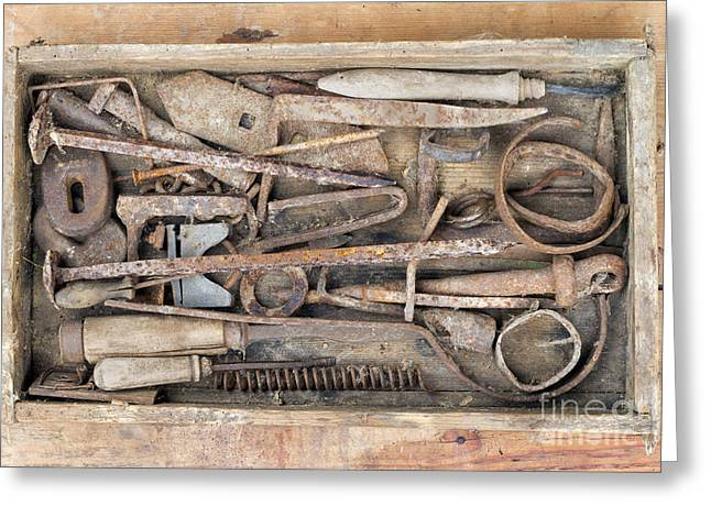 Hand Tools Greeting Cards - Old And Rusty Hand Tool Greeting Card by Michal Boubin