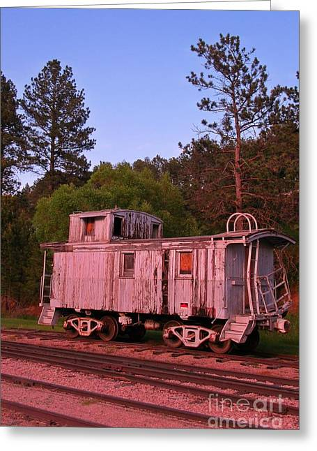 Old And Weathered Caboose Greeting Card by John Malone