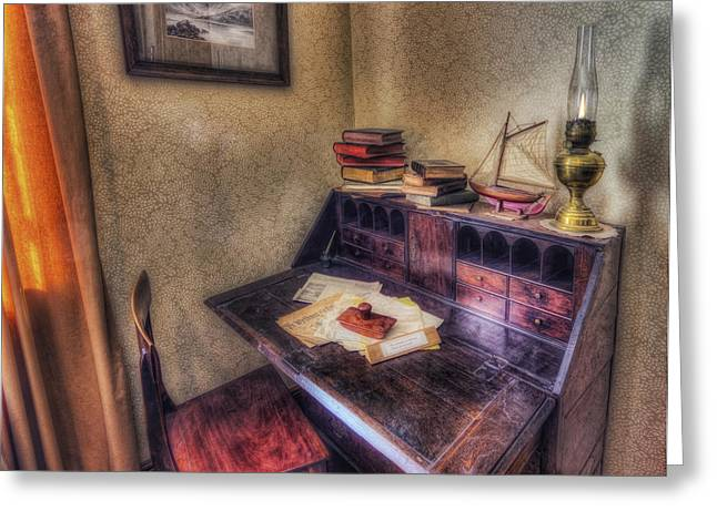 Home Office Furniture Greeting Cards - Old Antique Desk Greeting Card by Ian Mitchell