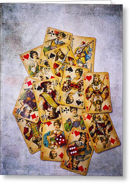Playing Cards Greeting Cards - Old Antique Playing Cards Greeting Card by Garry Gay