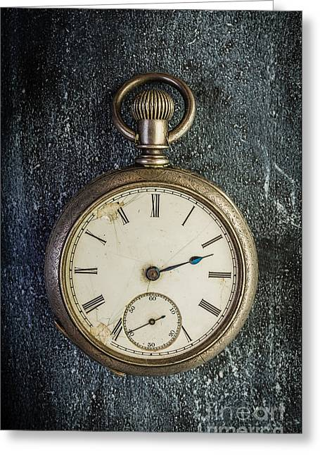 Clock Photographs Greeting Cards - Old Antique Pocket Watch Greeting Card by Edward Fielding