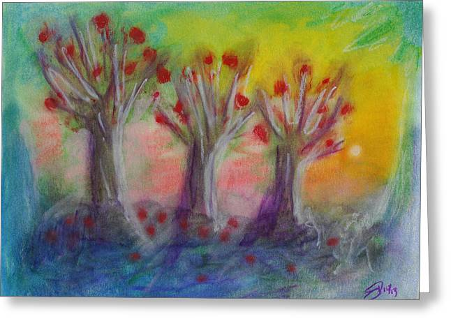 Old Apple Orchard Greeting Card by Donna Blackhall