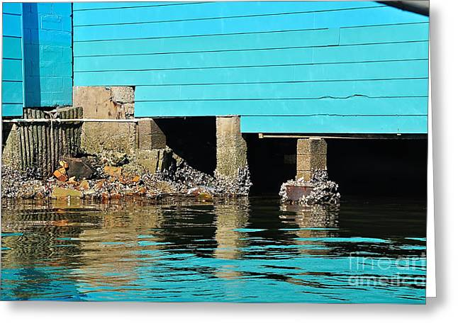 Boat Shed Greeting Cards - Old Aqua Boat Shed with Aqua Reflections Greeting Card by Kaye Menner
