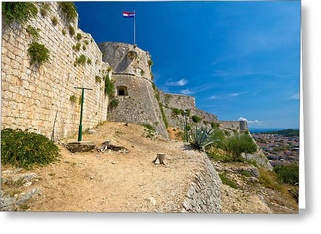 Panoramic Ocean Greeting Cards - Old architecture of Hvar island Greeting Card by Dalibor Brlek