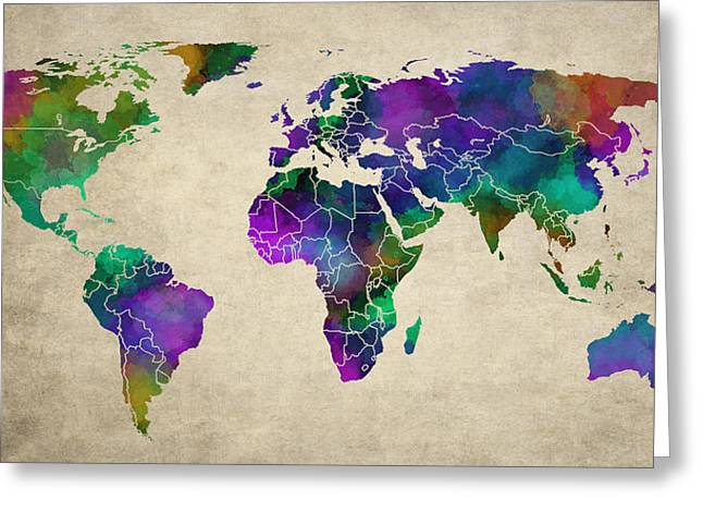 Seaworld Greeting Cards - OLD ART MAP of the WORLD Greeting Card by Daniel Hagerman