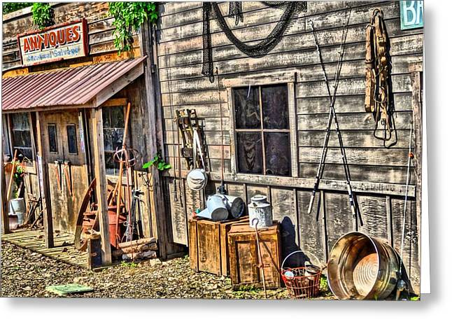 Old Village Greeting Cards - Old Bait Shop And Antiques Greeting Card by Dan Sproul