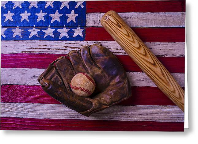 Baseball Game Greeting Cards - Old Ball And Glove With Bat Greeting Card by Garry Gay