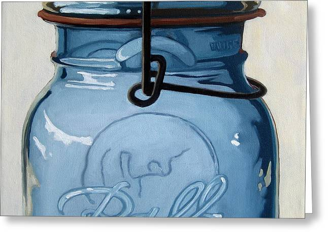 Old Ball Jar -oil Painting Greeting Card by Linda Apple