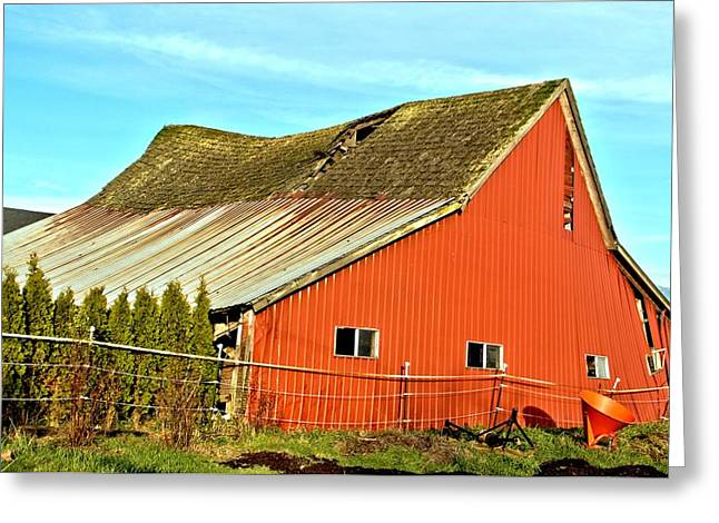 Red Roofed Barn Greeting Cards - Old Barn 11 Red Swayback Greeting Card by Marv Russell