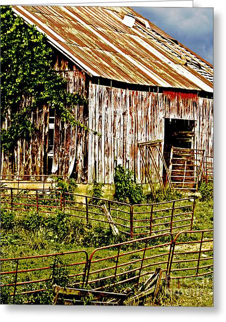Unpainted Greeting Cards - Old Barn #3 Greeting Card by Tom Gari Gallery-Three-Photography