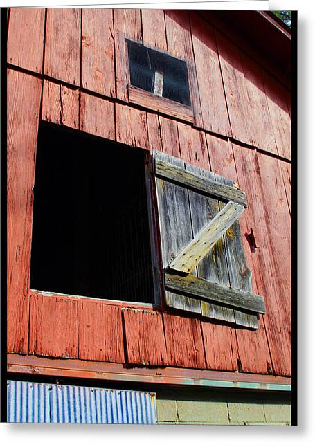 Barn Door Paintings Greeting Cards - Old Barn - 3 Greeting Card by John Lautermilch