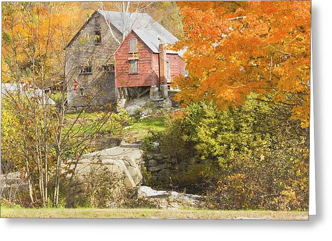 Old Maine Barns Greeting Cards - Old Barn And Dam In Autunm Vienna Maine Greeting Card by Keith Webber Jr