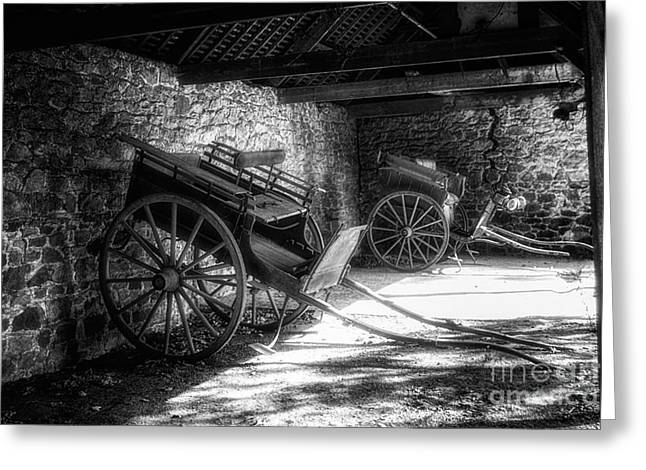 Horse And Cart Greeting Cards - Old Barn and Horse Carriages Monochrome Greeting Card by Ann Garrett