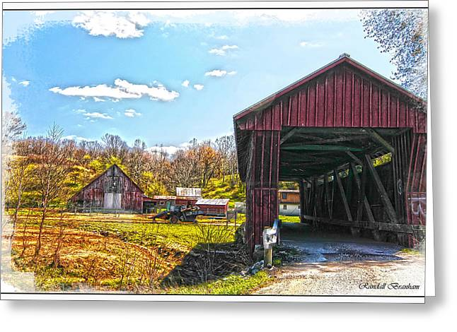 Farm Life Framed Prints Greeting Cards - Old Barn And Older Covered Bridge Greeting Card by Randall Branham