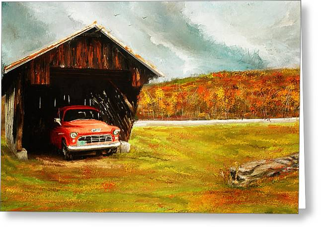 Farm Scenes Greeting Cards - Old Barn and Red Truck Greeting Card by Lourry Legarde