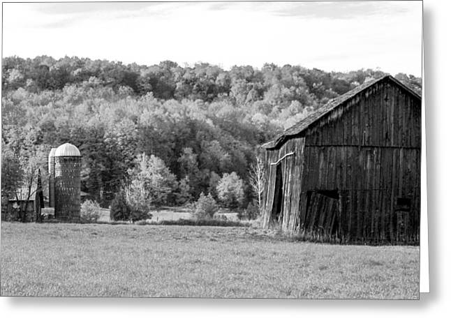 Barn Dance Greeting Cards - Old Barn and Silo Greeting Card by Optical Playground By MP Ray