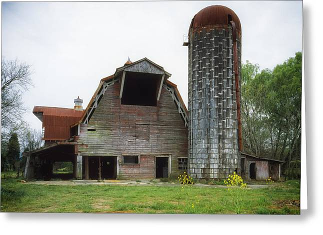 Rundown Barn Greeting Cards - Old Barn and Silo Greeting Card by Mountain Dreams