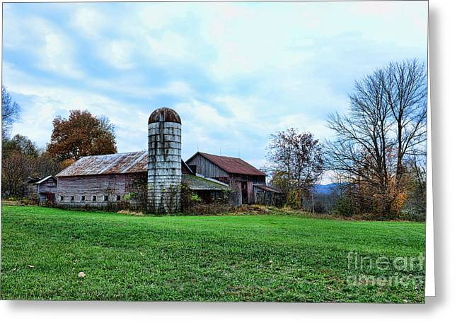 Old Country Roads Greeting Cards - Old Barn and Silo Greeting Card by Paul Ward