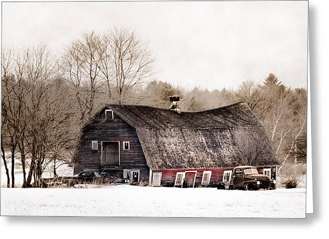 Old Barns Greeting Cards - Old Barn and Truck - Americana Greeting Card by Gary Heller