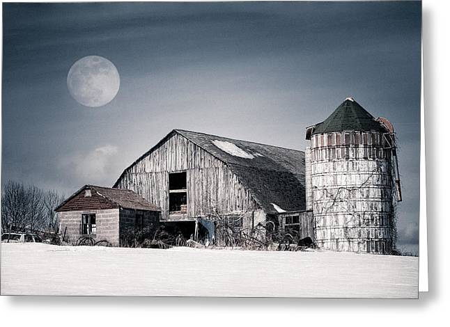 Snowy Night Night Greeting Cards - Old Barn and winter moon - Snowy Rustic Landscape Greeting Card by Gary Heller