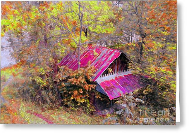 Fall River Scenes Mixed Media Greeting Cards - Old Barn Beneath New Trail Greeting Card by Gena Weiser