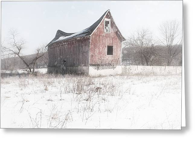 Old Barn - Brokeback shack Greeting Card by Gary Heller
