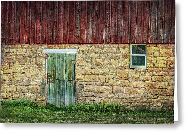 Barn Door Greeting Cards - Old Barn Door and Window Greeting Card by Patti Deters
