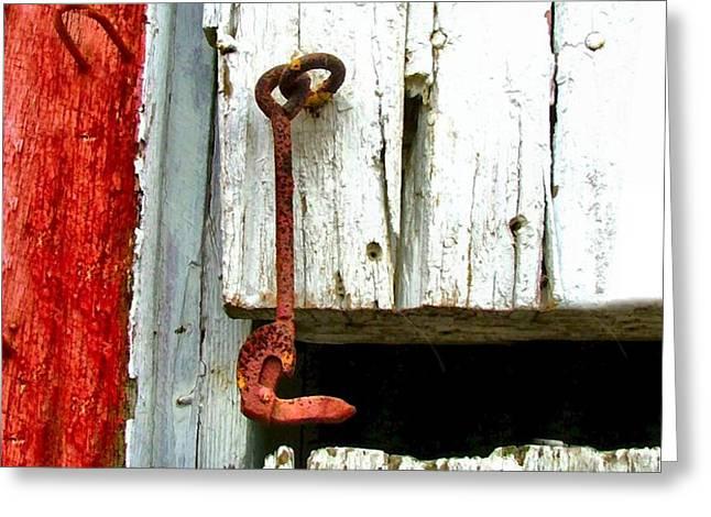 Old Barn Door Hook Greeting Card by Julie Dant
