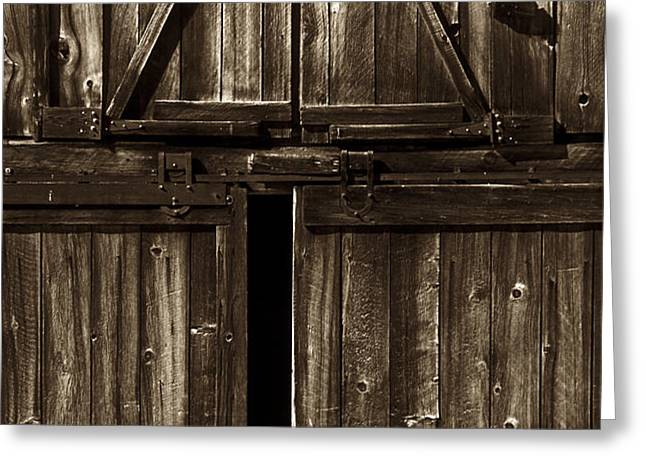 Old Barn Door - toned Greeting Card by Paul W Faust -  Impressions of Light