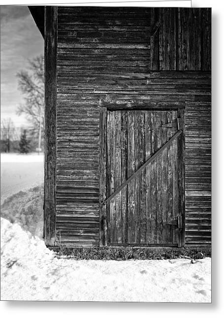Winter Classic Greeting Cards - Old Barn Door Windsor Vermont Greeting Card by Edward Fielding