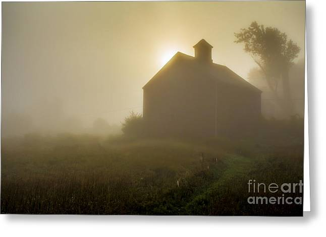 New England Morning Greeting Cards - Old Barn Foggy Morning Greeting Card by Edward Fielding
