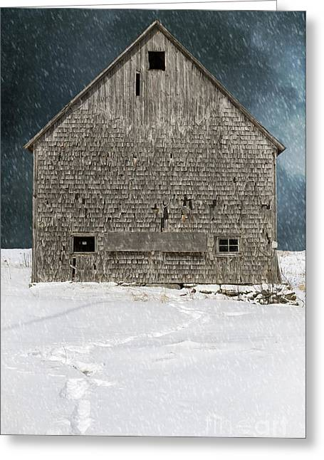 Old Barns Greeting Cards - Old barn in a snow storm Greeting Card by Edward Fielding