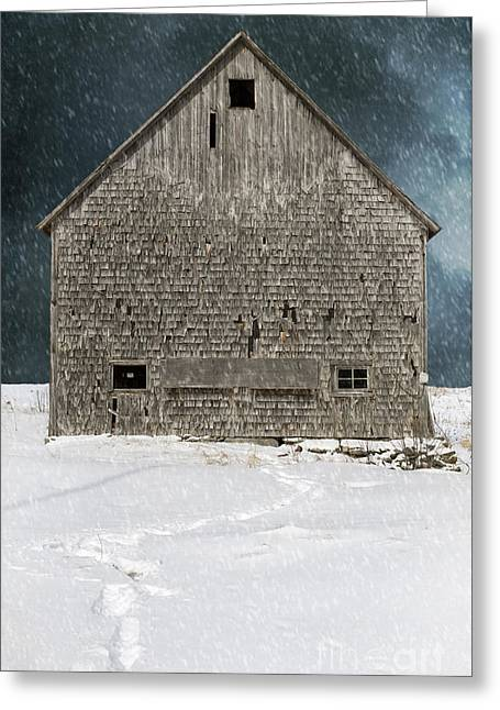 Shingles Greeting Cards - Old barn in a snow storm Greeting Card by Edward Fielding