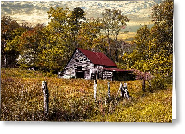 Tennessee Barn Greeting Cards - Old Barn in Autumn Greeting Card by Debra and Dave Vanderlaan