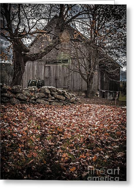 New Hampshire Leaves Greeting Cards - Old barn in Autumn Greeting Card by Edward Fielding