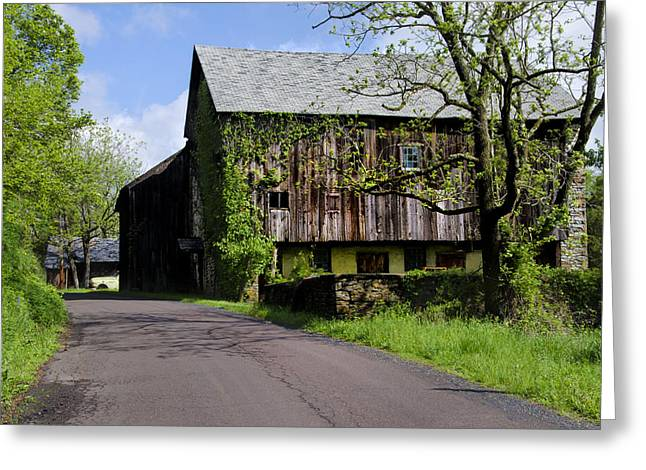 Old Barns Digital Art Greeting Cards - Old Barn in Bucks County Pa Greeting Card by Bill Cannon
