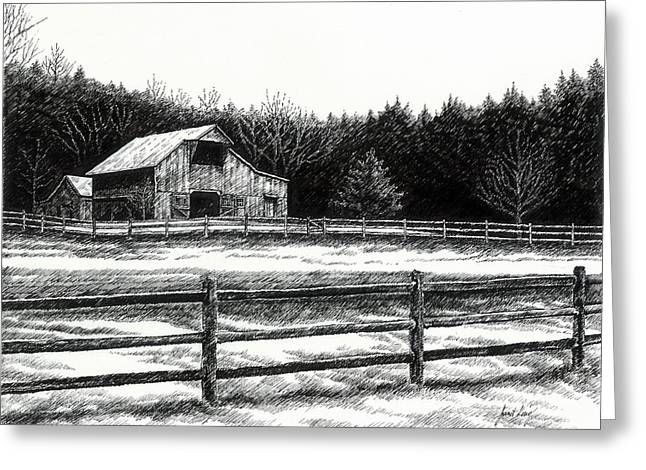 Pen And Ink Drawing Of Franklin Tennessee Greeting Cards - Old Barn in Franklin Tennessee Greeting Card by Janet King