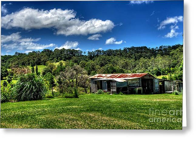 Lush Green Greeting Cards - Old Barn in Lush Green Countryside Greeting Card by Kaye Menner