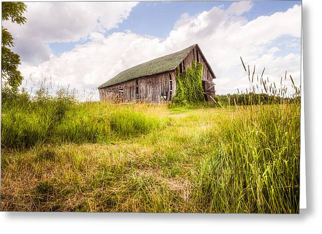Surreal Landscape Greeting Cards - Old Barn in Ontario County - New York State Greeting Card by Gary Heller