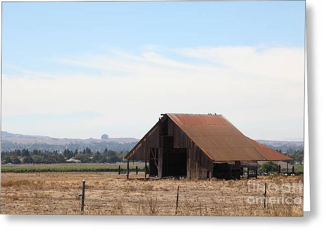 Dilapidated Houses Greeting Cards - Old Barn in Petaluma California 5D24404 Greeting Card by Wingsdomain Art and Photography
